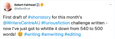 FuriousFiction - First Draft Tweet